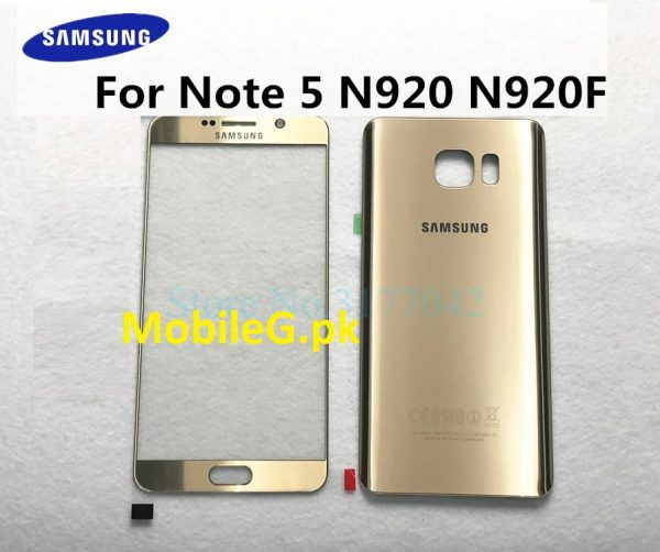 For Samsung Galaxy Note 5 N920 N920F N920P N920V note5 Front Touch Panel Outer Lens + Rear Battery Door Back Glass Housing Cover